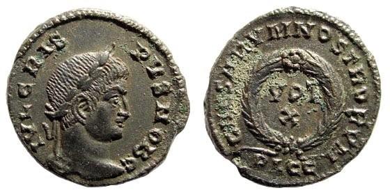Ancient Coins - Crispus, as Caesar. 317-326 AD. AE Folles (3.28 gm, 18mm). Lugdunum mint (Lyons), 323-324 AD. RIC 215