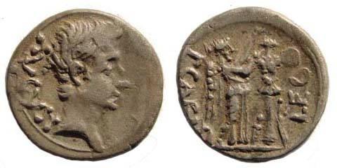 Ancient Coins - Augustus. 27 BC-14 AD. AR Quinarius (1.85 gm, 13.78 mm, 3h). Spanish mint. RSC 386; RIC 221. Very fine