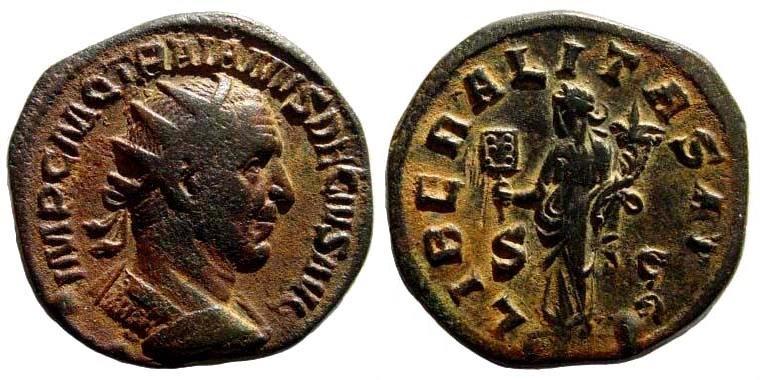 Ancient Coins - Trajan Decius. 249-251 AD. AE Dupondius (13.84 gm, 25mm). Rome mint. RIC IV 120c