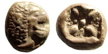 Ancient Coins - Ionia, Miletos. Late 6th-early 4th century BC. AR 1/12th Stater (1.12 gm, 9mm). SNG Helsinki II, 285