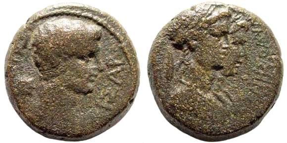 Ancient Coins - Lydia, Philadelphia (Neocasarea). Gaius Caligula. 37-41 AD. AE 16mm (4.57 gm). Hermogenes Olympionikes. RPC I, 3023; BMC 53