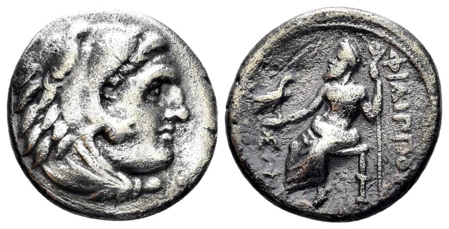 Ancient Coins - Macedonian Kindom. Philip III Arrhidaios. 323-317 BC. AR Drachm (3.94 gm, 17mm). Sardes mint. Price P70
