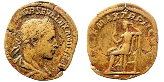 Ancient Coins - Severus Alexander. AD 222-235. AE Sestertius (18.96 gm, 30mm). Rome mint. 3rd emission, AD 223. RIC IV 407