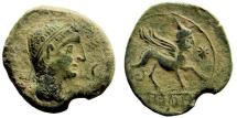 Ancient Coins - Spain, Castulo. Mid 2nd century BC. AE 30mm (13.05 gm). SNG BM Spain 1314-21