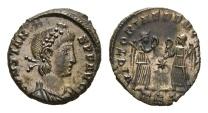 Ancient Coins - Constans, 337-350 AD. AE Follis (2.49 gm, 15mm). Trier mint, 341-346 AD. LRBC 141