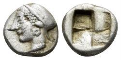 Ancient Coins - Ionia, Phokaia. Late sixth century BC. AR Diobol (1.32 gm, 9.5mm). SNG Kayan 522