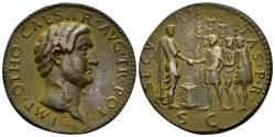 """World Coins - 19th Century or earlier AE Cast """"Sestertius"""" (17.40 gm, 33mm). """"Paduan"""" medal. Otho"""