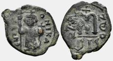 Ancient Coins - Constans II, 641-668. 40 Nummia (3.26 gm, 27mm). Constantinople, Year 2 (642/3). DOC 63; SB 1000