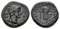 Ancient Coins - Karia, Antiochia ad Maeandrum. Augustus. 27 BC-14 AD. AE 15mm (4.14 gm). Paionios. RPC I 2834