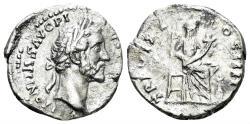 Ancient Coins - Antoninus Pius. 138-161 AD. AR Denarius (3.02 gm, 17mm), Rome mint. Struck 139 AD. RIC III 262