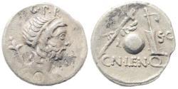 Ancient Coins - Cn. Lentulus. 76-75 BC. AR Denarius (3.71 gm, 20mm). Rome mint. Crawford 393/1a