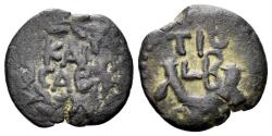 Ancient Coins - Judaea, Procurators. Valerius Gratus. 15-26 AD. AE Prutah (2.00 gm, 16mm). Jerusalem mint. Dated RY 2 of Tiberius (15/6 AD). RPC I 4958