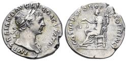 Ancient Coins - Trajan. 98-117 AD. AR Denarius (3.34 gm, 19mm). Rome mint. Struck circa 107-111 AD. RIC II 119
