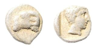 Ancient Coins - Karia uncertain. Circa 400-350 BC. AR Persic Hemiobol (0.41 gm, 7.5mm). SNG Helsinki I, 898