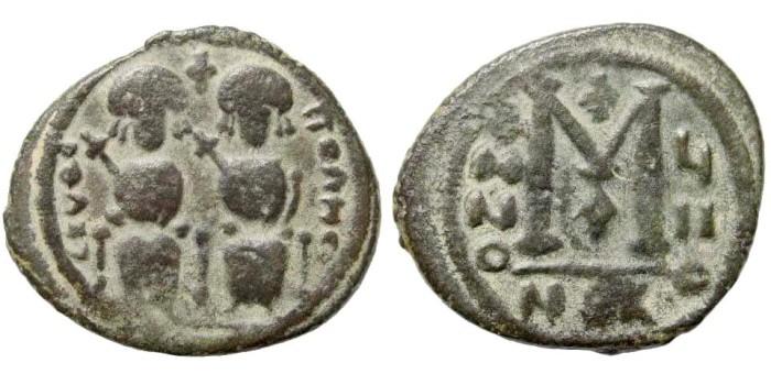 Ancient Coins - Arab-Byzantine. In the style of Justin II. After 641 AD. AE Follis (11.20 gm, 30mm). Scythopolis (Beth Shean) mint. Walker, Arab-Byzantine 1; Berman 16; Album 98. Rare