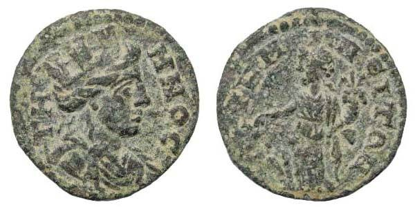 Ancient Coins - Aeolis, Temnos, time of Valerian – Gallienus, 253-268 AD, AE 18.1 mm (2.59 gm.). SNG Tübingen 2716