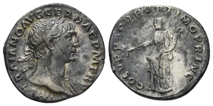 Ancient Coins - Trajan, 98-117 AD. AR Denarius (3.26 gm, 18mm). Rome mint. Struck circa 107-111 AD. RIC II 121