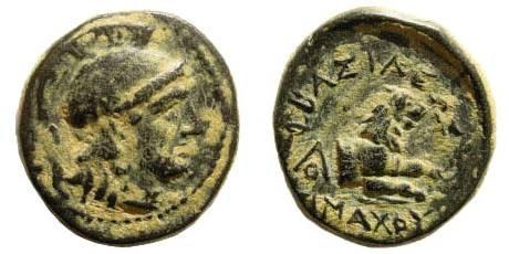 Ancient Coins - Thracian Kings, Lysimachos. 305-281 BC. AE 15mm (2.35 gm). SNG Copenhagen 1159