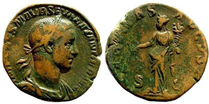 Ancient Coins - Severus Alexander, 222-235 AD. AE Sestertius (20.93 gm, 28mm). Rome 226 AD. RIC IV 547