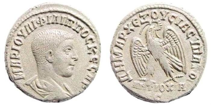 Ancient Coins - Syria, Seleucis and Pieria. Antioch. Philip II. 247-249 AD. AR Tetradrachm (12.19 gm, 25mm). Struck 248 AD. Prieur 394