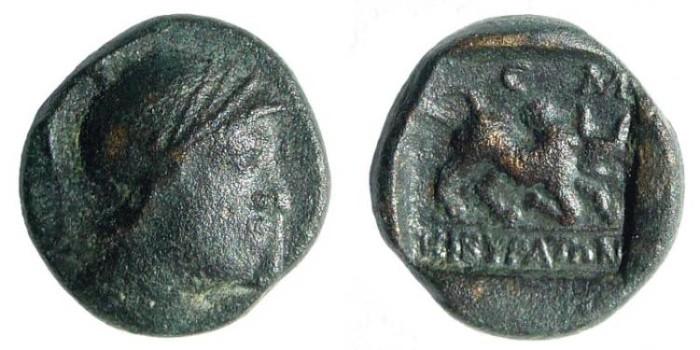 Ancient Coins - Phrygia, Cibyra. 168-84 BC. AE 12mm (1.59 gm). BMC 17