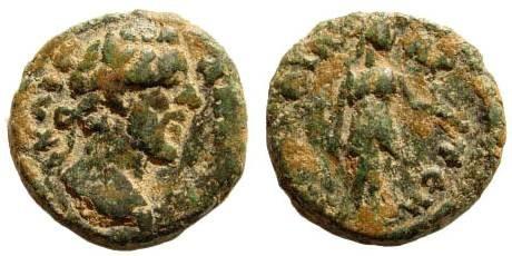 Ancient Coins - Pamphylia, Perge. Antoninus Pius, 138-161 AD. AE 15mm (3.02 gm). BMC 28