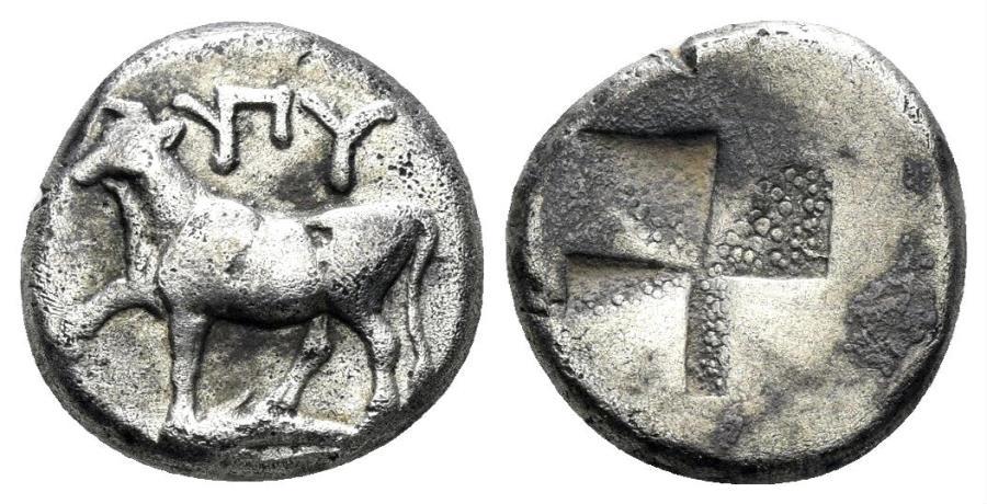 Ancient Coins - Thrace, Byzantion. Circa 387/6-340 BC. AR Half Siglos (2.37 gm, 12mm). SNG BM Black Sea 36-41