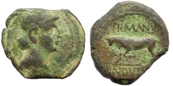 Ancient Coins - Eastern Gaul, Treveri. Augustus. 27 BC - AD 14. AE Quadrans (Orichalcum, 2.57 gm, 17mm). Struck in the name of Germanus Indutilli L. circa. 10. RIC 249