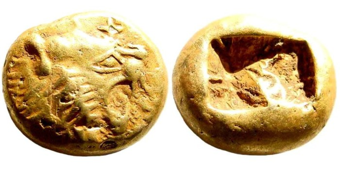 Ancient Coins - Lydian Kingdom. Alyattes II, late 7th century BC. EL 1/3 Stater -  Trite (4.72 gm, 13mm). Weidauer 66