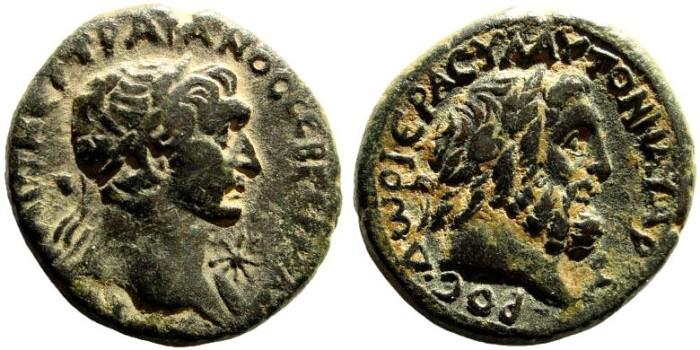 Ancient Coins - Phoenicia, Dora. Trajan, 98-117 AD. AE 24 mm (14.80 gm, 27mm). 111/ 112 AD. BMC pg. 117, 30