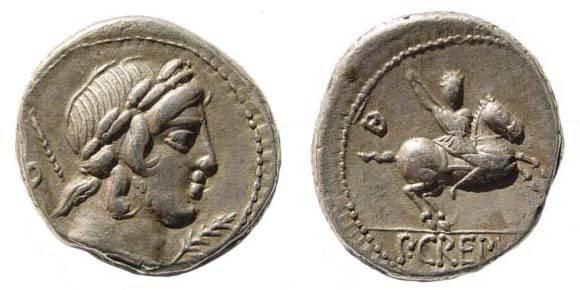 Ancient Coins - P Crepusius, 82 BC, Denarius