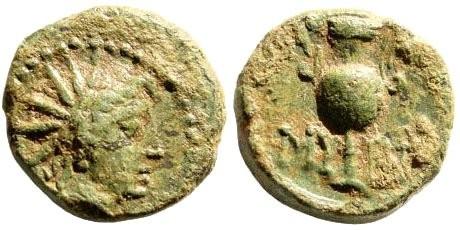 Ancient Coins - Aeolis, Myrina. Circa. 2nd century BC. AE 12mm (1.73 gm). SNG Copenhagen 226; BMC 32