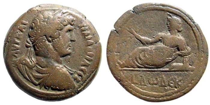 Ancient Coins - Egypt, Alexandria. Hadrian, 117-138 AD. AE Hemidrachm (15.07 gm, 29mm) Dated Year 12 (129/30 AD). Emmett 1086