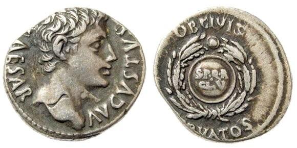 Ancient Coins - Augustus. 27 BC-14 AD. AR Denarius (3.86 gm, 18mm). Colonia Patricia, 19-18 BC. RIC 79a