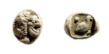 Ancient Coins - Ionia or Caria, uncertain mint. Miletus (?). 420-390 BC. AR Tetartemorion (0.27 gm, 6mm). SNG Kayan 944; SNG Helsinki I, 922; Klein 430 (Miletos)