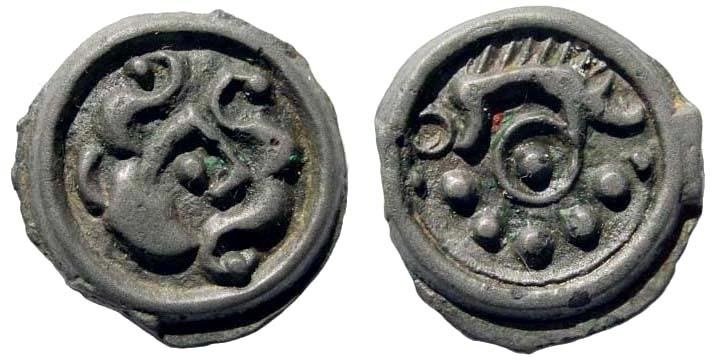 Ancient Coins - Celtic, Northeast Gaul. Suessiones. Circa 60/50-30/25 BC. Potin 18mm (3.50 gm). D&T 531A