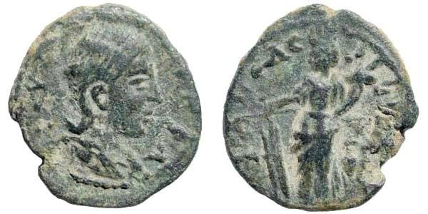 Ancient Coins - Judaea, Neapolis. Julia Mamaea, Augusta, 222-235 AD. AE 18mm (2.62 gm, 12h). Rosenberger 66