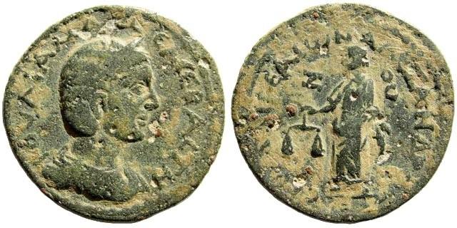 Ancient Coins - Cilicia, Aegeae. Julia Mamaea, mother of Severus Alexander. 222-235 AD. AE 27mm (14.30 gm). Year 277, 230-231 AD. Ziegler, Sammlungen, 1396. Rare