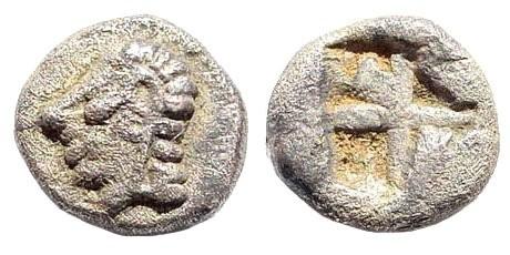 Ancient Coins - Ionia, Kolophon. Circa late 6th Century BC. AR Hemiobol (0.38 gm, 7mm). SNG Kayhan 342; SNG von Aulock 1808