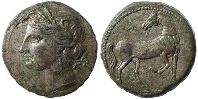Ancient Coins - Zeugitania, Carthage. Circa 221-201 BC. BI Tridrachm (9.19 gm). Second Punic War issue, struck circa 208-202 BC. SNG Copenhagen 392