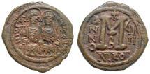 Ancient Coins - Justin II and Sophia, 565–578 AD. AE Follis (15.46 gm, 32mm). Nicomedia mint. Dated RY 9 (568/9). Sear 369