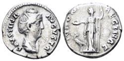 Ancient Coins - Faustina Senior. Augusta, 138-140/1 AD. AR denarius (3.60 gm, 18mm). Rome mint. Struck 139-141 AD. RIC III (Antoninus Pius) 338