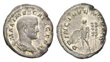 Ancient Coins - Maximus. As Caesar. 235-238 AD. AR Denarius (2.15 gm, 20mm). Rome mint. Struck 236-238 AD. RIC IV 3