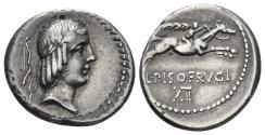 Ancient Coins - L. Calpurnius Piso Frugi. 90 BC. AR Denarius (3.96 gm, 18.5mm). Crawford 340/1