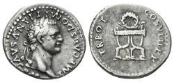 Ancient Coins - Domitian. 81-96 AD. AR Denarius (3.36 gm, 18.5mm,). Rome mint. Struck 81 AD. RIC II 48; RSC 570/1