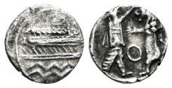 Ancient Coins - Phoenicia, Sidon. Baalshillem (Sakton) II. Circa 401-365 BC. AR Sixteenth Shekel (0.53 gm, 10mm). E&E-S 851-1191; HGC 10, 240