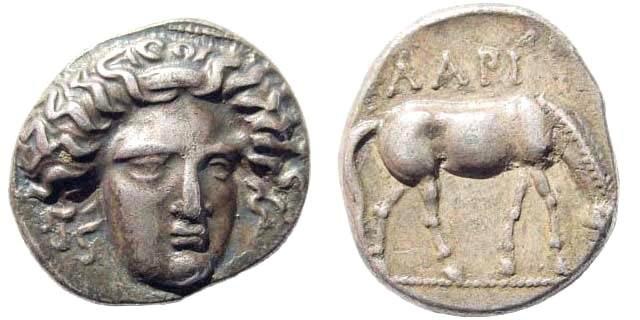 Ancient Coins - Thessalia, Larissa. 400-380 BC. AR Drachm (6.01 gm, 19mm). C.C.Lorber, Facing Head Drachms of Larissa in FS Westermark 62,2 (a)