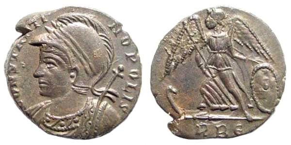 Ancient Coins - Constantinopolis. 330-331 AD. AE Follis (2.63 gm, 16mm). Rome mint. RIC VII 339