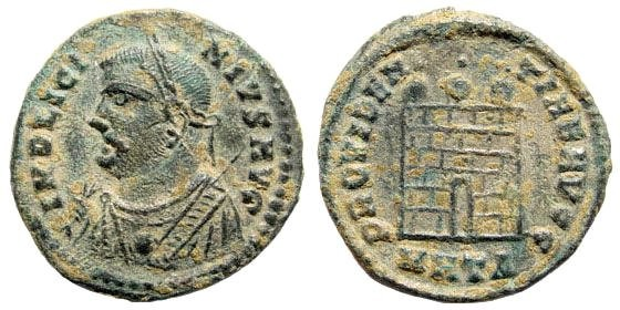 Ancient Coins - Licinius I. 307-323 AD. Silvered AE3 (3.35 gm) Heraklea mint. 317 AD. RIC.17(S)