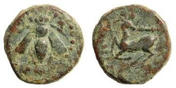 Ancient Coins - Ionia, Ephesos. Circa 295-280 BC. AE 10mm (0.84 gm). SNG Copenhagen 362